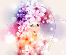 Beautiful girl with dream floral vector material 01