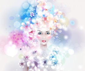 Beautiful girl with dream floral vector material 02