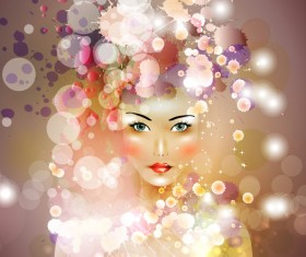 Beautiful girl with dream floral vector material 03