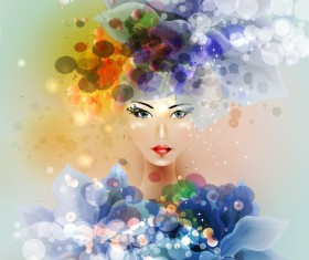 Beautiful girl with dream floral vector material 04
