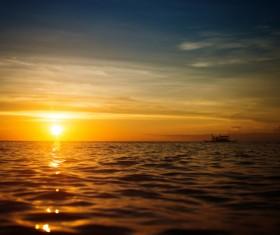 Beautiful sunset in the sea Stock Photo 07