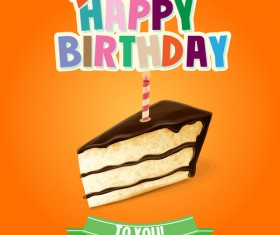 Birthday cake with yellow background vector 01