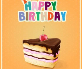 Birthday cake with yellow background vector 02