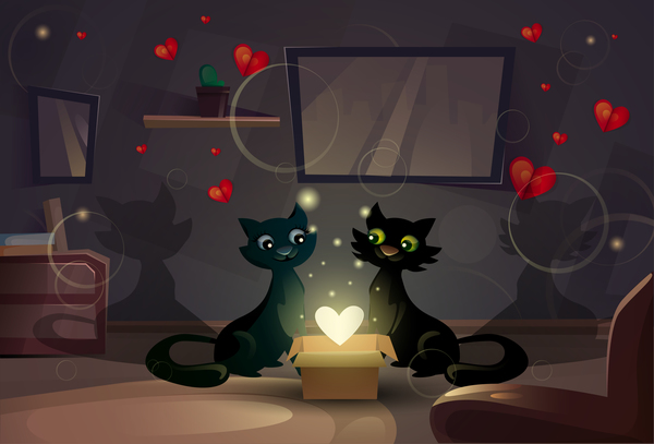 Black cat love with Valentine day card vector 03