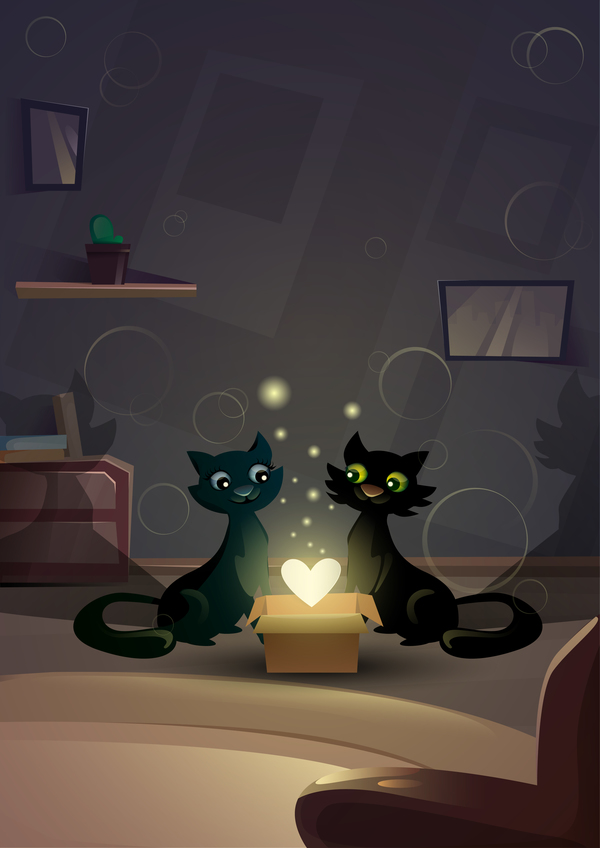 Black cat love with Valentine day card vector 05