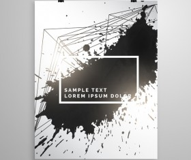 Black ink grunge cover template vector 02