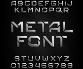 Black metal font with numbers vector