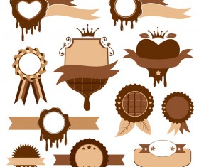 Blank chocolate labels with badge vector