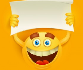 Blank paper with smiley emoticon yellow face vector