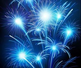 Blue fireworks effect vectors material 04