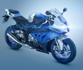 Blue motorcycle Stock Photo