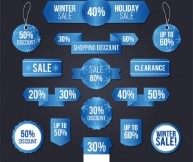 Blue sale banners with sticker and tags vector