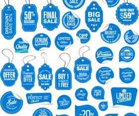 Blue sale tags with sticker vector