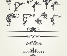 Borderline ornaments and corners retro vector