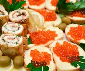Bread Red caviar Lemon Stock Photo