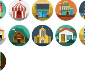 Buildings vintage icons