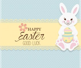 Bunny easter card cute vector material