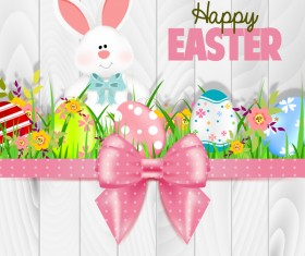 Bunny with easter card template and ribbon bow vector 01