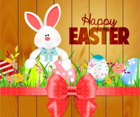 Bunny with easter card template and ribbon bow vector 02