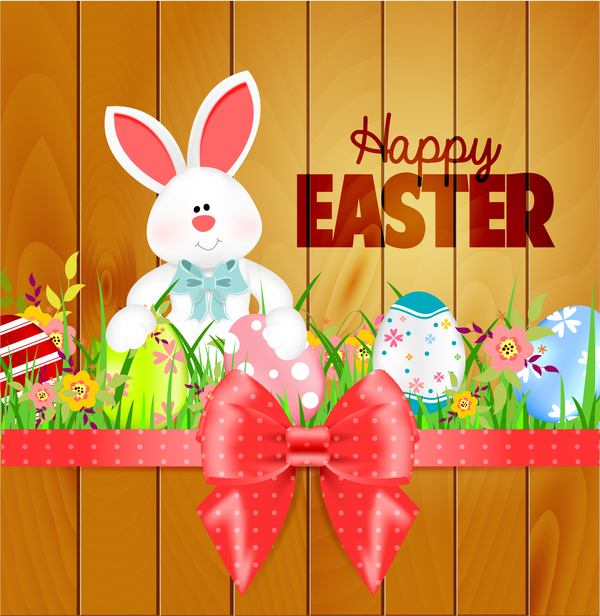 Bunny With Easter Card Template And Ribbon Bow Vector 02 - Vector