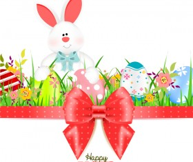 Bunny with easter card template and ribbon bow vector 03