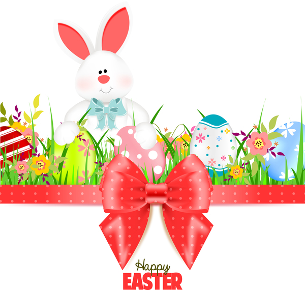 Bunny With Easter Card Template And Ribbon Bow Vector 03 - Vector