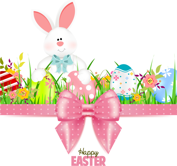 Bunny With Easter Card Template And Ribbon Bow Vector 04 - Vector