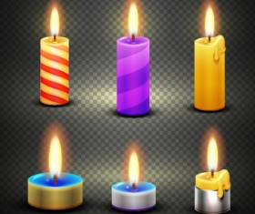 Burning candle illustration vector 01
