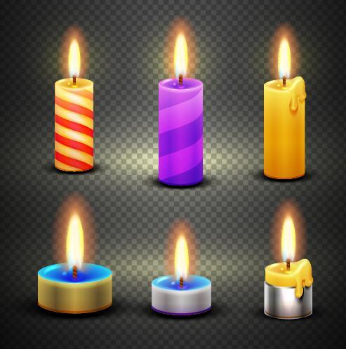 Burning candle illustration vector 01
