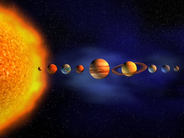 Burning planet and planet  Stock Photo 01