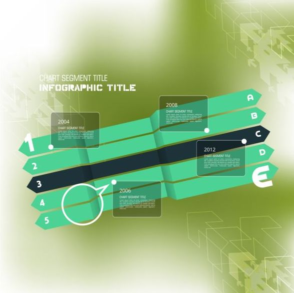 Business infographic template green styles vector 15