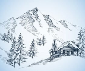 Cabin with snow mountains landscape sketch vector