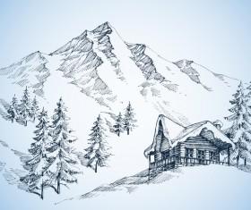 Mountains landscape sketch vector