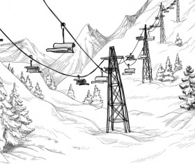 Cable car with snow mountains landscape vector