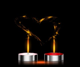 Candles light heart vecor background