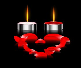 Candles light with red petal heart vector