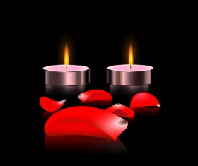Candles light with red petal vector 01
