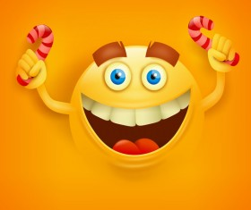 Candy with smiley emoticon yellow face vector