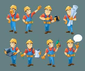 Cartoon construction worker vector material 04
