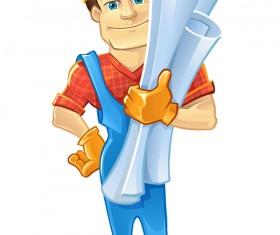 Cartoon construction worker vector material 05
