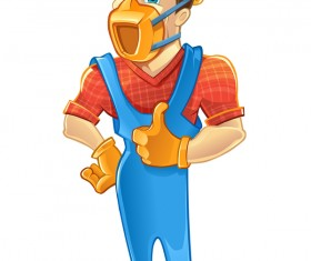 Cartoon construction worker vector material 06