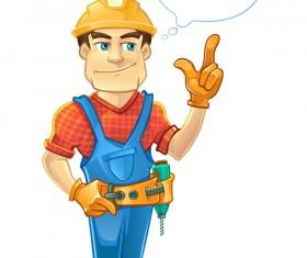 Cartoon construction worker vector material 07