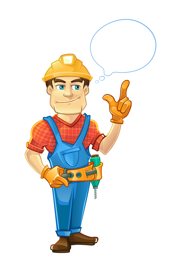 cartoon construction worker vector material 07 free download