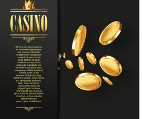Casino elements with dark background vector 02