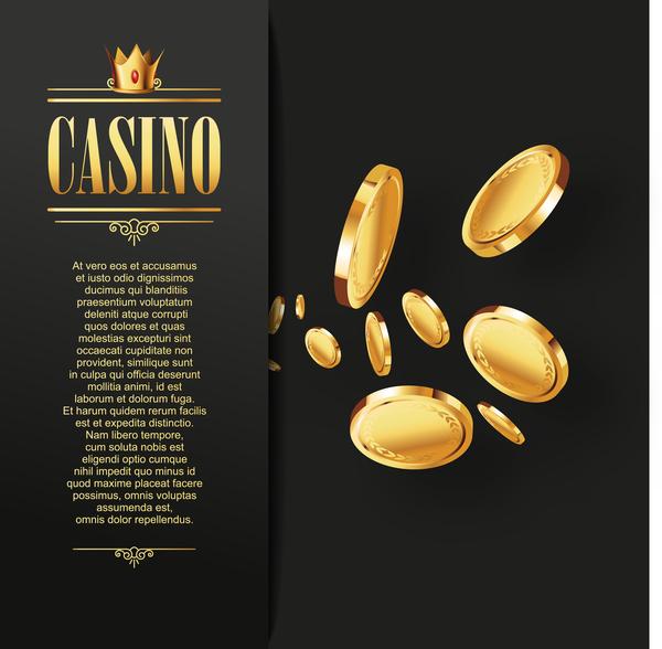 Casino elements with dark background vector 02