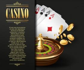 Casino elements with dark background vector 05