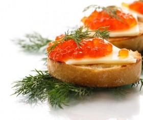 Cheese bread red caviar Stock Photo