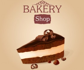 Chocolate cake with bakery shop background vector 01