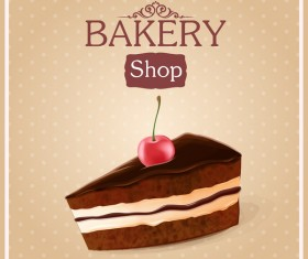 Chocolate cake with bakery shop background vector 02