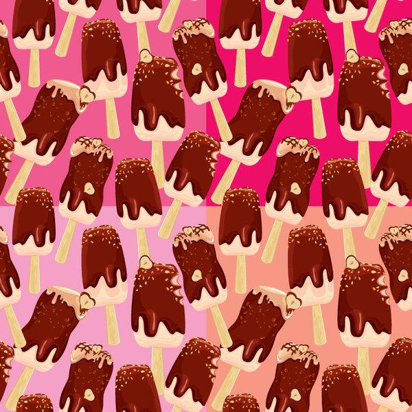 Chocolate ice cream vector seamless pattern
